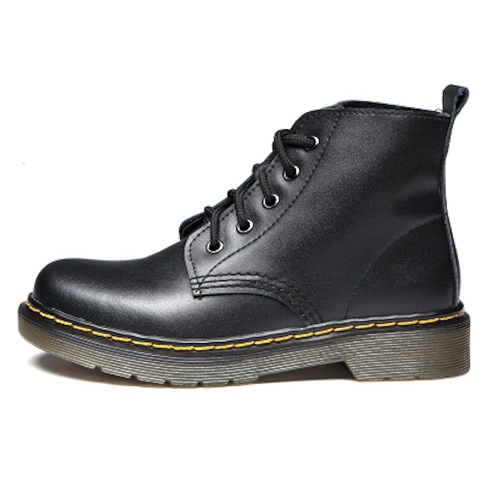 電気のへこみ傾くブーツ ショートブーツ レディース 革 ウォーキングシューズ 革靴 レザー カジュアル 軽量 (22.5, ブラック)