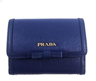Vitello Move Leather Bluette Blue Coin Purse Bi-fold Bow Wallet 1MH523