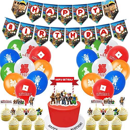 Roblox Decoración para Fiestas de Cumpleaños con Globos Banderín Feliz Cumpleaños Tarjetas de Tarta Adornos de Casa para Fiestas Fiesta Temática Roblox Dibujos Animados para Niños Adultos Fans