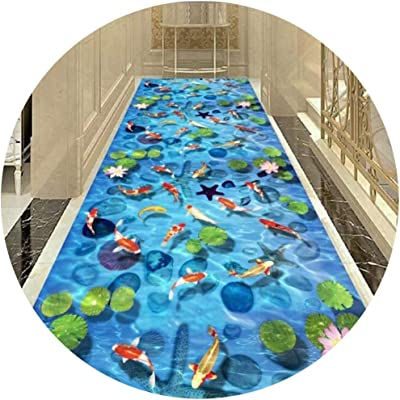 Hallway Runner Rug Long Runner Rugs Corridor Carpet Geometric Style Footprint Pattern Goldfish Pattern 7MM Thickness Suitable for Living Room Corridors and Stairs (Color : B, Size : 0.6X4M)