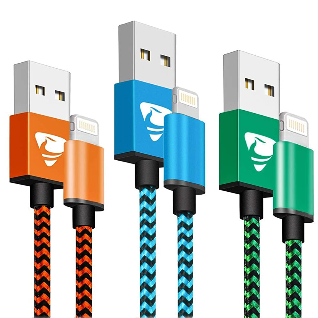 iPhone Charger MFi Certified Aioneus Fast Charging Cable 6FT 3 Pack Nylon Braided iPhone Charging Cord Compatible with iPhone Xs X 8 8 Plus 7 7 Plus 6s 6s Plus 6 6 Plus iPad iPod-Blue,Orange,Green