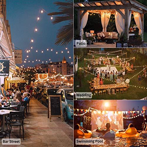 Outdoor String Lights 25 Feet G40 Globe Patio Lights with 26 Edison Glass Bulbs