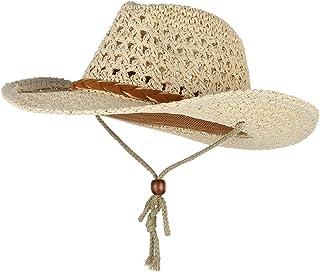 C-Princess テンガロンハット ウエスタンハット カウボーイハット 麦わら帽子 メンズ あご紐付属 かぎ編み 春夏UVカット おしゃれ 登山 釣り アウトドア