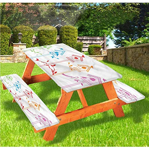 LEWIS FRANKLIN Shower curtain Birds Picnic Table & Benches Cover, Flying Bird Nest Roof Elastic Edge Fitted Tablecloth,28 x 72 Inch, 3-Piece Set for Travel Christmas Picnics Parties Outdoor