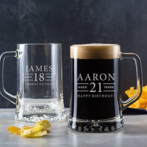 Personalised Engraved Pint Glass Tankard 18th Birthday Gifts For Boys 21st