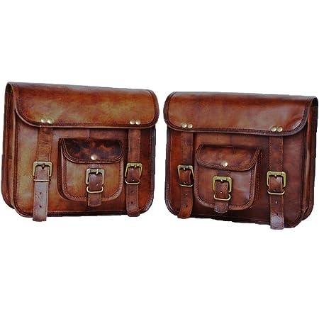 Motorrad Seitentasche Braun Leder Seitentasche Satteltaschen Satteltaschen 2 Taschen Motorrad Fahrrad Fahrrad Mit Geschenk Buffalo Leder Kameragürtel Auto