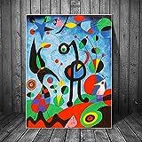 JLFDHR Impresión en lienzo 50x70cm sin marco Abstracto El Jardín 1925 De Joan Miro Famous ArtObra Reproducciones de Joan Miro Cuadros de pared Decoración de la pared del hogar