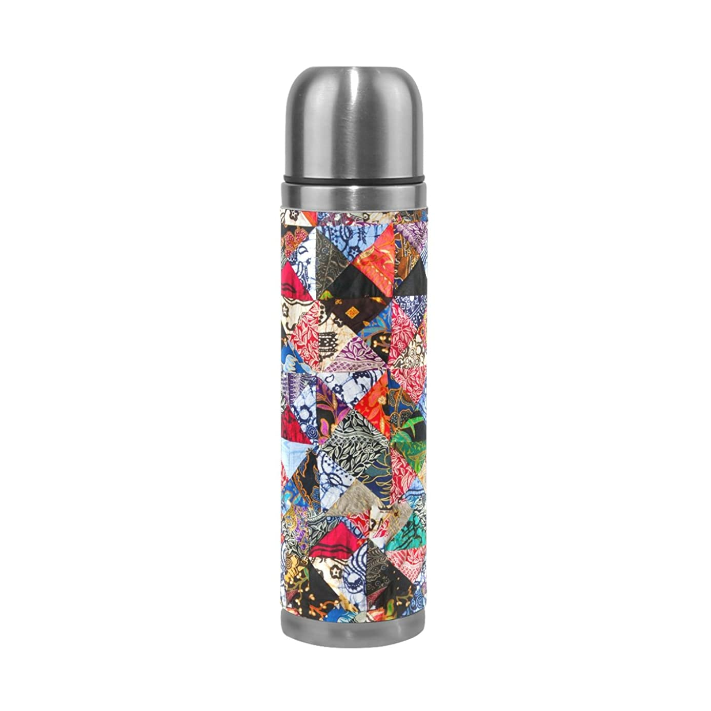 FENNEN Square Flower Double Walled Stainless Steel Thermos Water Bottle Vacuum Cup Insulated Leak Proof Flask Jug for 500ML Coffee Tea Water