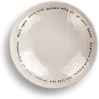 Wishes Stars Believe Cream 10 x 10 Ceramic Stoneware Decorative Dishware Bowl