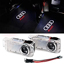 Oheealt Audi Car Door Logo Led Light Ghost Shadow Projector Welcome Lamp Symbol Emblem Step Courtesy Lights Ground Kit for for Audi A1 A3 A4 A5 A6 A7 A8 Q3 Q7 R8 TT(2 Pack)