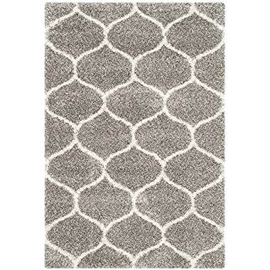 Safavieh Hudson Shag Collection SGH280B Grey and Ivory Moroccan Ogee Plush Area Rug (5'1  x 7'6 )