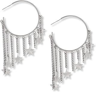 اقراط اذن حلقية للنساء من المعدن الفضي من ستيف مادن - SME463574RH