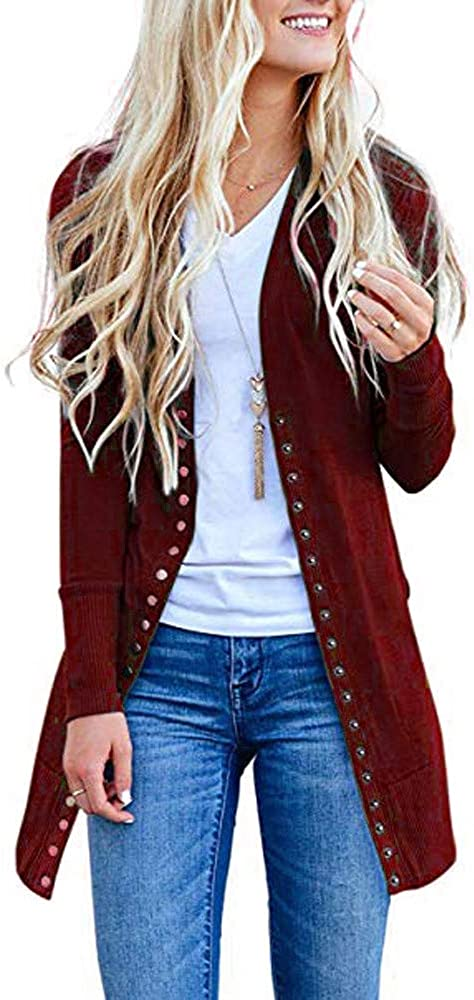 KYLEON Women's Long Sleeve Snap Button Down Solid Color Knit Ribbed Neckline Long Cardigans Open Front Knit Sweaters Coat