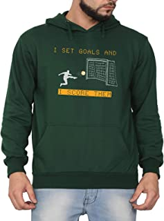 Swag Swami Unisex CottonI Set Goals and I Score Them Football MotivationPrinted Hoodie | Hooded Sweatshirt