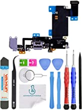 OmniRepairs Charging USB Dock Port Flex Cable Replacement with Microphone, Headphone Audio Jack Assembly Compatible for iPhone 6s Plus Model (A1634, A1687, A1699) with Repair Tools (Black/Space Gray)