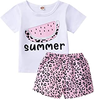 Toddler Infant Baby Girls Summer Outfits Leopard Short Sleeve Pocket T-Shirt Tops Shorts Clothes Sets
