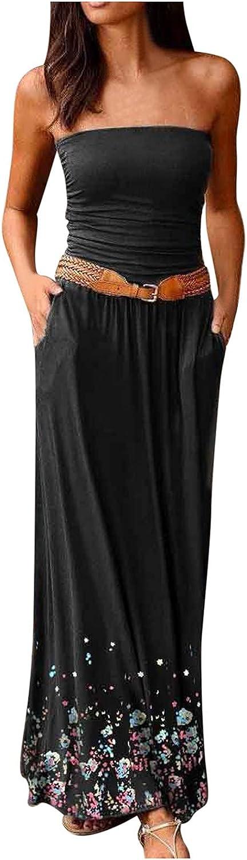 ESULOMP Women's Casual Tube Top Maxi Dress Summer Sleeveless Solid Breast Wrap Floor-Length A-line Dress