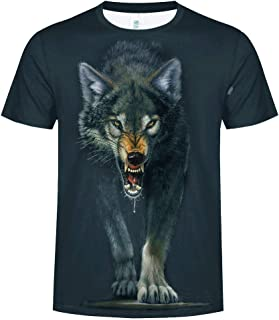 Willow S Fashion Mens Splash-Ink 3D Wolf Printing Tees Shirt Short Sleeve T-Shirt Blouse Tops