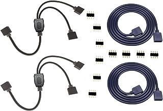 2PCS 4 Pin RGB LED Splitter Cable LED Strip Connector 2 Way Splitter Y Splitter Connection with 2PCS 4 Pin 1m 3.3ft RGB LE...