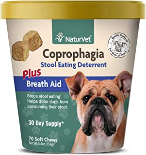 NaturVet – Coprophagia Stool Eating Deterrent Plus Breath Aid – Deters Dogs from Consuming Stool – Enhanced with Breath Freshener, Enzymes & Probiotics