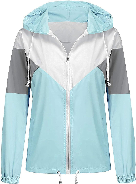 Womens Hooded Windbreaker Color Block Rain Jacket Packable Active Outdoor Raincoat With Drawstring