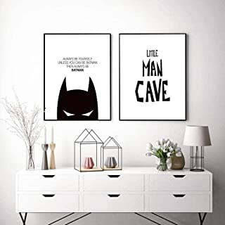 Cartoon Little Man Cave Poster Black and White Canvas Painting Batman Wall Pictures for Living Room Nordic Decoration Home...