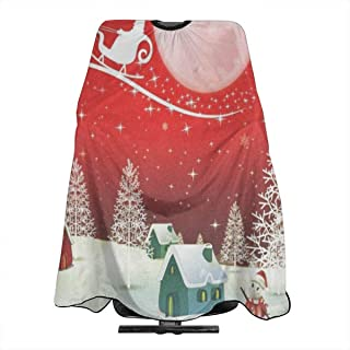 Christmas Snowman And Santa Professional Salon Cape Polyester Haircut Apron Hair Cut Cape Waterproof Hairdresser Wai Cloth Hairdressing Wrap for Adult/Women/Men