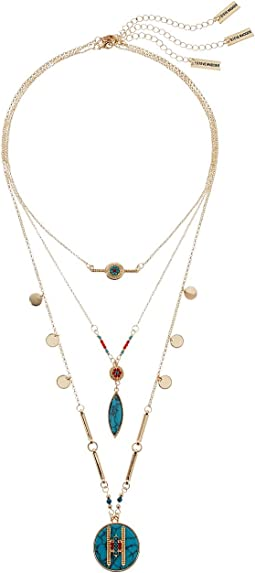 Steve Madden - Three-Piece Blue Geometric Stone Disc Charm Chain Necklace
