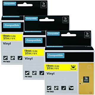 3 Pack Replace DYMO Rhino 18433 Adhesive Vinyl Label Tape for Use with DYMO Rhino 4200 5200 5000 6000 Label Makers and More, Black on Yellow, 3/4 Inch (19mm) x 18 Feet (5.5m)