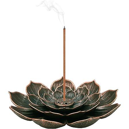 SLKIJDHFB Porte-Encens de Lotus en Laiton Brûleur d'Encens en Bâton Porte-Brûleur d'Encens à Cône avec Capteur de Cendres