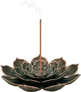 SLKIJDHFB Incense Burner - Lotus Stick Incense Holder 5 Incense Holes with Detachable Ash Catcher
