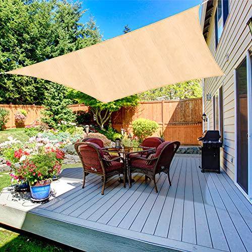 Duerer Toldo Vela de Sombra Rectangular 3x4M, 95% de protección Rayos UV, 185GSM, para Patio, jardín, pérgola, Patio Trasero - Color Arena