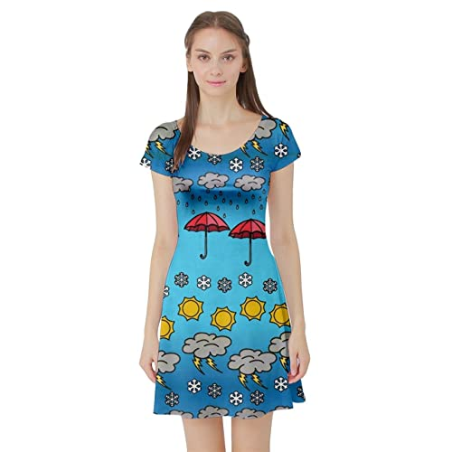 642392a06c27 CowCow Womens Space Rocket Planet Sun Moon Science Rick Morty Short Sleeve  Dress, XS-