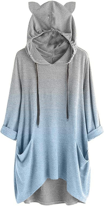 Women's Loose Long Sleeve Hoodies Cat Ear Hooded Sweatshirt Pullover Fashion Gradient Printing Top Blouse