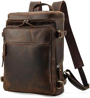 R-Series - Mochila de piel auténtica para hombre de 15,6 pulgadas, para senderismo, para fin de semana, camping, bolsa de viaje