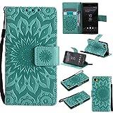 KKEIKO Hülle für Sony Xperia Z5 Compact (Mini), PU Leder Brieftasche Schutzhülle Klapphülle, Sun Blumen Design Stoßfest Handyhülle für Sony Xperia Z5 Compact (Mini) - Grün