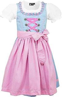 Country Maddox Maddox Kinder Dirndl Zillertal - Hellblau Rosa - 3-TLG. Trachtenset für Mädchen Kleid Schürze Bluse