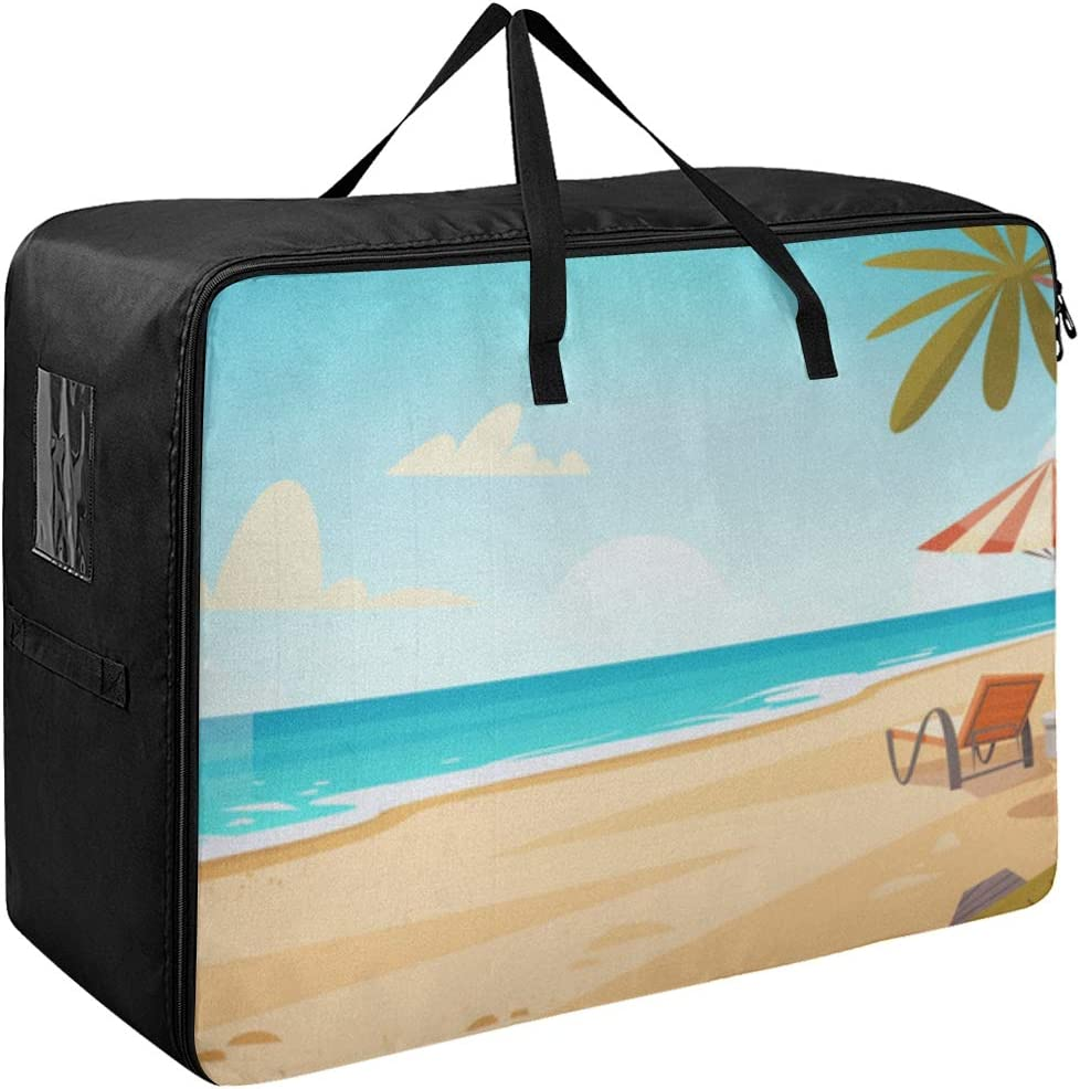 Super sale Storage Clothes Bags Max 63% OFF Zip Cartoon Beach Summer Cool Landscape Lar