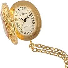 14K Gold Plated Pendant Pocket Locket Watch Cameo Necklace Jewelry Fleur de Lis Roman Numeral Dial