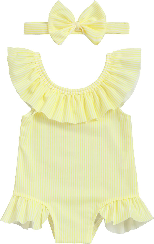 Oklady Baby Girl Bikini Striped Beach Swimsuit Ruffles Bathing Suit Swimwear+Headband