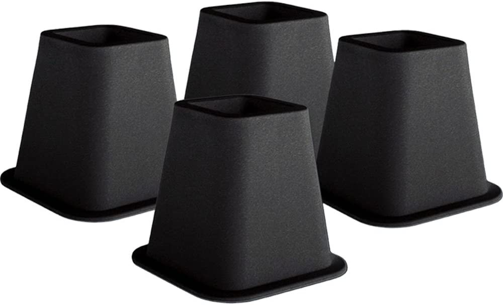 Trademark Home Collection 4-Pack New products world's Recommendation highest quality popular 6-Inch Black Bed Risers