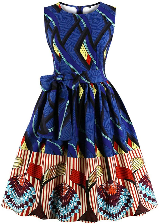 WDBXN Women Dress Belt Round Neck Sleeveless A-Lined Dress 50S bluee Party Dress