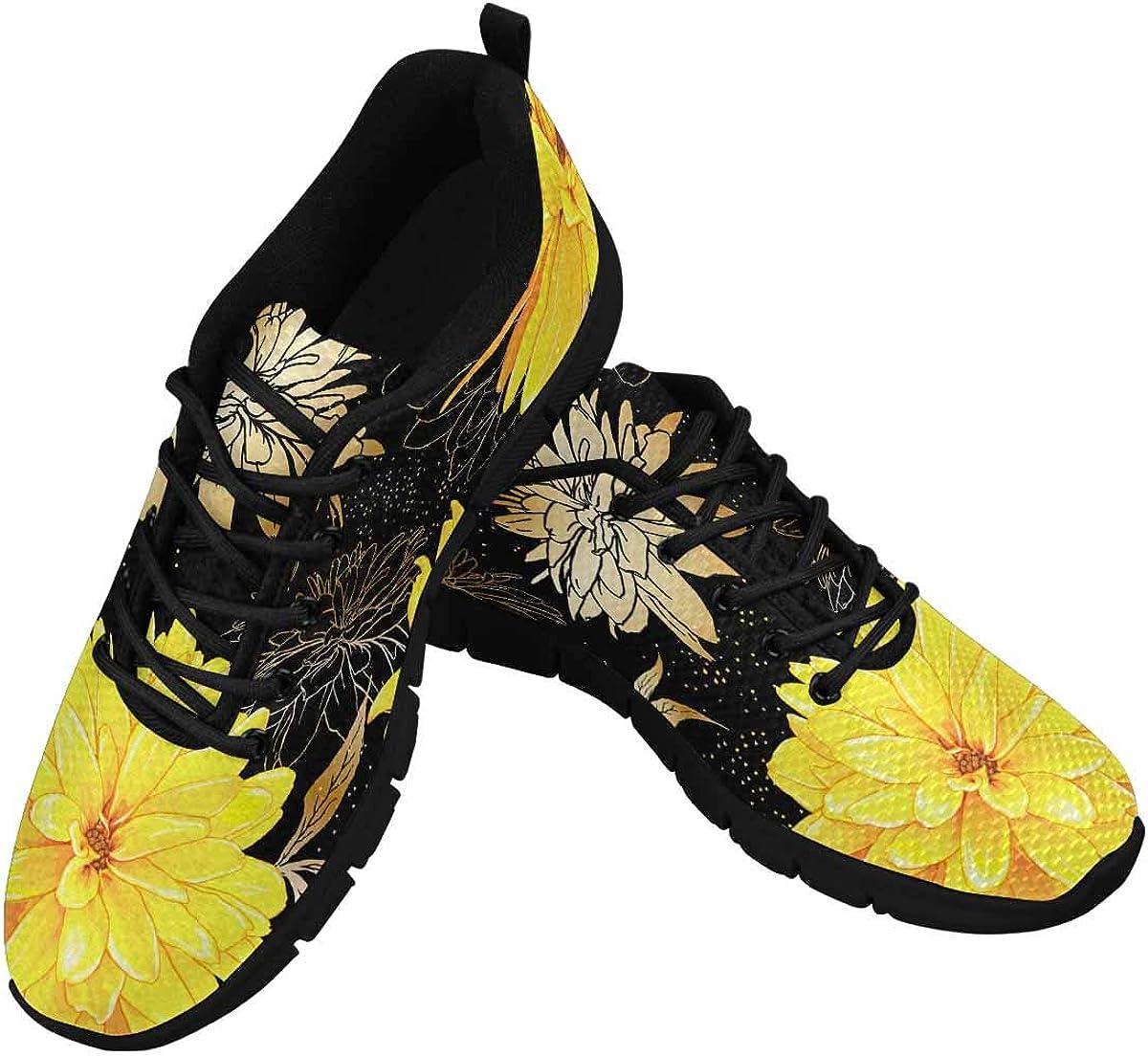INTERESTPRINT Flowers of Rudbeckia Laciniata Women's Tennis Running Shoes Lightweight Sneakers