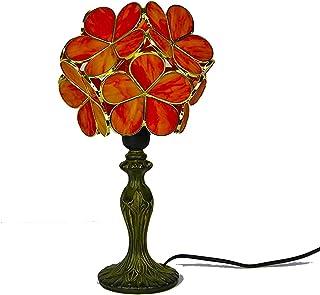 Lampe Tiffany Table en verre taché Lampes de Table Orange Love Fleur Pétales Cuivre Style Coiffaire Table basse Lumière Po...