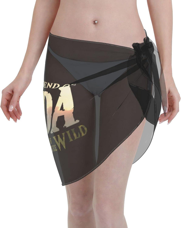 The Legend of Zelda Link Women Short Sarongs Beach Wrap Sheer Bikini Wraps Chiffon Cover Ups for Swimwear (5519in) Black