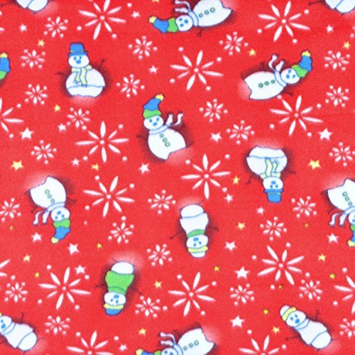 Red Snowman Fleece Fabric - by The Yard