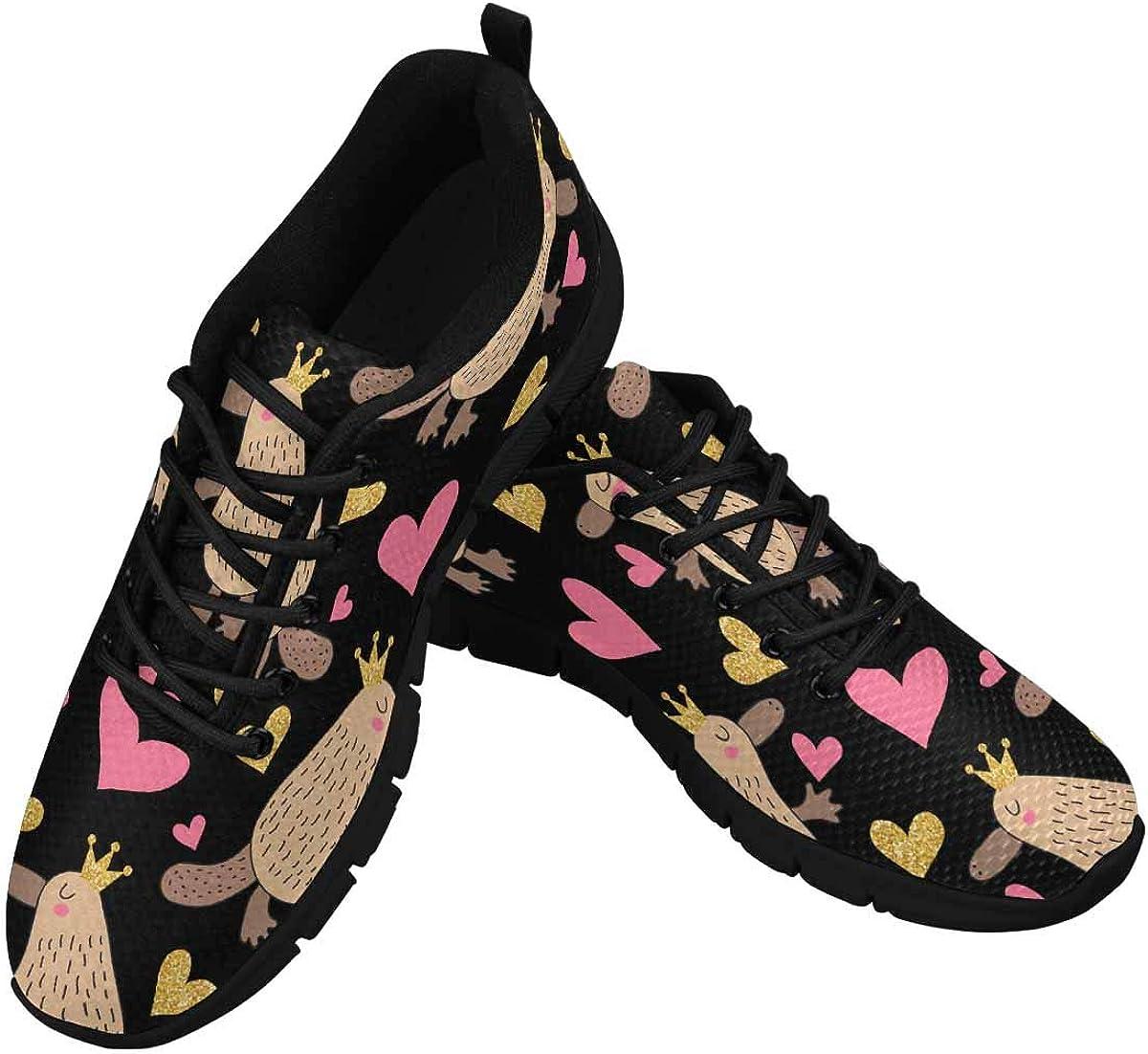 INTERESTPRINT Cute Cartoon Platypus Women's Athletic Walking Running Sneakers Comfortable Lightweight Shoes