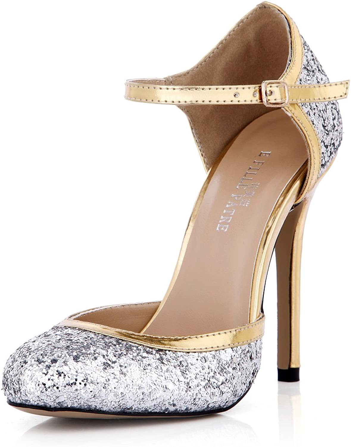DolphinGirl Women Fashion Glitter Silver golden Heel Pointy Toe 12CM High Heels Dress Pumps Strap Stiletto shoes SM00106