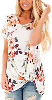 SAMPEEL Women's Casual T Shirts Twist Knot Tunics Tops