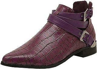 Women's Pointed-Toe Gladiator Block-Heel Zip Buckle Ankle Boots (Color : Purple, Size : 6 UK)
